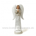 Svietnik Anjel Modlitba antik patina biela 35cm