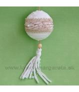 Guľa zamatová s perličkami záves tyrkysová 11cm