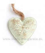 Plechové srdce zlatá patina záves 16cm