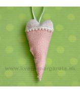 Srdce brokát perličky záves 20cm