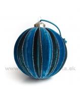 Guľa Zamat Prúžok modrá 10cm
