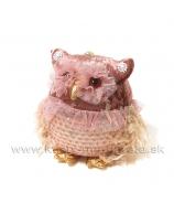 Sovička Zamatová záves ružová 16cm