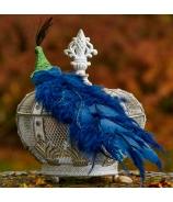 Páv dlhý modrý chvost glitrovaný smaragdový 60cm