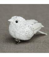 Vtáčik na štipci glitrovaný biely 18cm
