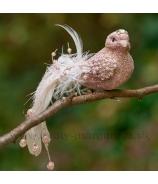 Vtáčik na štipci s korunkou a perličkovým chvostom rúžový 20cm