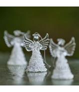 Set 3ks Sklenený anjel záves zlatý 7cm