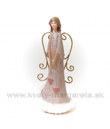 Anjel Dve visiace srdcia drôtové krídla labutienka 22cm