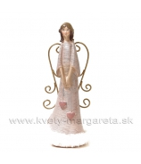 Anjel Dve visiace srdcia drôtové krídla labutienka 30cm