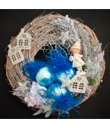 Vianočný závesný veniec blue 42cm
