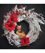 Vianočný závesný veniec peach 42cm