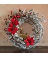 Vianočný závesný veniec red 34cm