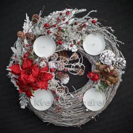 Adventný veniec Vianočná hviezda white 42cm