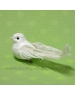 Vtáčik na štipci s glitrovým náterom biely 13cm