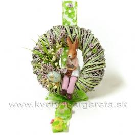 Veniec Zajačica s konvalinkami zelený 25cm