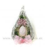 Veniec Vajce s ružovou mašľou záves 40cm