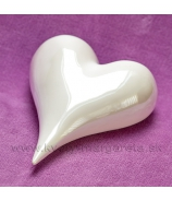 Porcelánové srdce perleťová glazúra 17cm