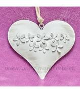 Plechové srdce s kvietkami záves 13cm