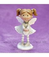Dievčatko Anjelik srdiečko v rukách sivý 9cm