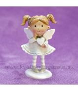 Dievčatko Anjelik srdiečko v jednej ruke sivý 9cm
