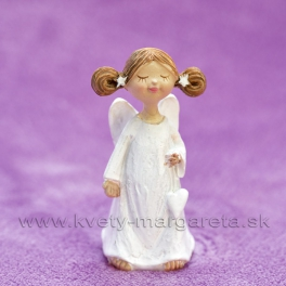 Anjelik Bosý visiace srdce v jednej ruke biely 8cm
