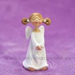 Anjelik Bosý visiace srdce v rukách biely 8cm
