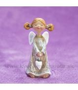 Anjelik Bosý visiace srdce v rukách sivý 8cm