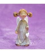 Anjelik Bosý visiace srdce v jednej ruke sivý 8cm
