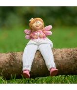 Copatá víla muška s visiacími nohami bielo-rúžová 13cm