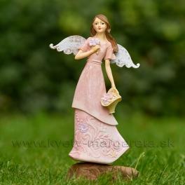 Anjel s košíkom kvetované šaty 23cm