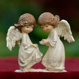 Anjelici dvojičky s hviezdami 13cm