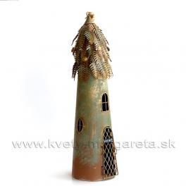 Vtáčia búdka Steampunk svietnik zlatá medenka HOME 52 cm