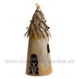 Vtáčia búdka Steampunk svietnik hrdzavo-hnedá 48 cm