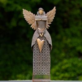 Anjel GRÁCIA so zlatými Antique krídlami hnedá 67cm