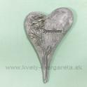 Pietne srdce s reliéfom ruže Silver 15cm
