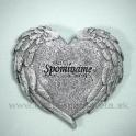 """Pietne srdce  """"Spomíname"""" s reliéfom krídel Silver 10cm"""