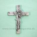 Pietny krížik s ružami Antik biela 8.5 cm