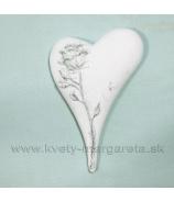Pietne srdce s reliéfom ruže Bielo-Strieborná 15cm