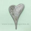 Pietne srdce s reliéfom ruže Silver 11cm