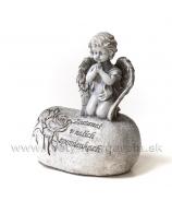 Anjel s modlidbou kľačiaci na kameni s ornamentom 16cm
