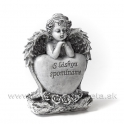 """Anjel so srdcom  """"S láskou spomíname"""" sivý 16cm"""