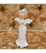 Anjel Amélia s vtáčikom 15cm biely