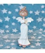 Anjel Amélia s vtáčikom 15cm krémovy