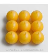 Guľky sviečky 9ks  4,5 cm žltá
