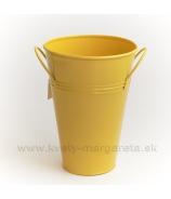 Váza vedro plech 20cm žltá - zľava 50%