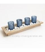 Svietnik drevená tácka x4 Modrý
