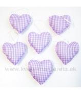 Srdiečka vankúšiky x 6 fialové - zľava 50%