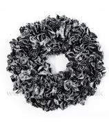 Veniec čierno-strieborný glitter 22cm