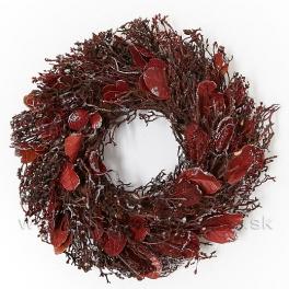 Veniec bobkový list červený glitter 22cm