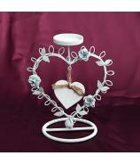 Svietnik kovové srdce s rúžičkami