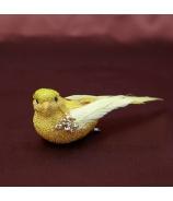 Zlatý vtáčik s flitrami na štipci